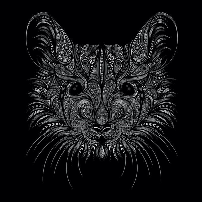 新年的标志2020年 一只老鼠的美丽的画象从样式的在黑背景 r 库存例证