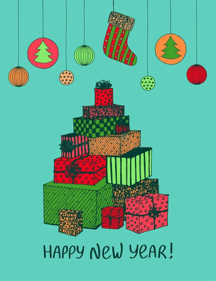 新年礼物和礼物五颜六色的剪影在圣诞树形状  假日设计的传染媒介手拉的乱画 库存例证
