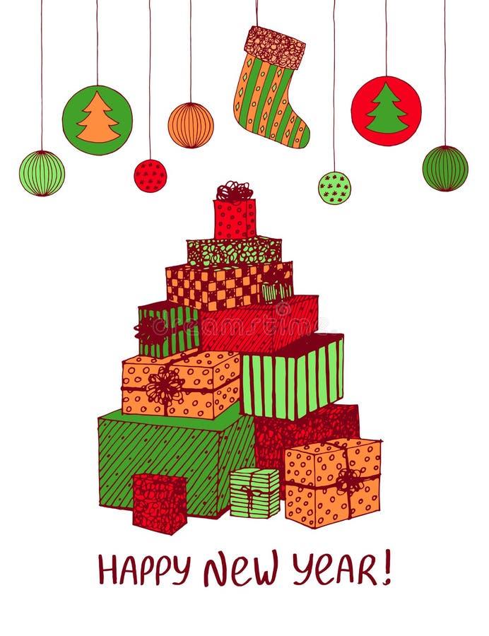 新年礼物和礼物五颜六色的剪影在圣诞树形状  假日设计的传染媒介手拉的乱画 向量例证