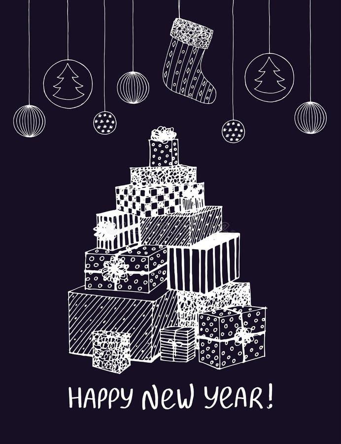 新年礼物和礼物剪影在圣诞树形状  假日设计的,明信片传染媒介手拉的乱画 皇族释放例证