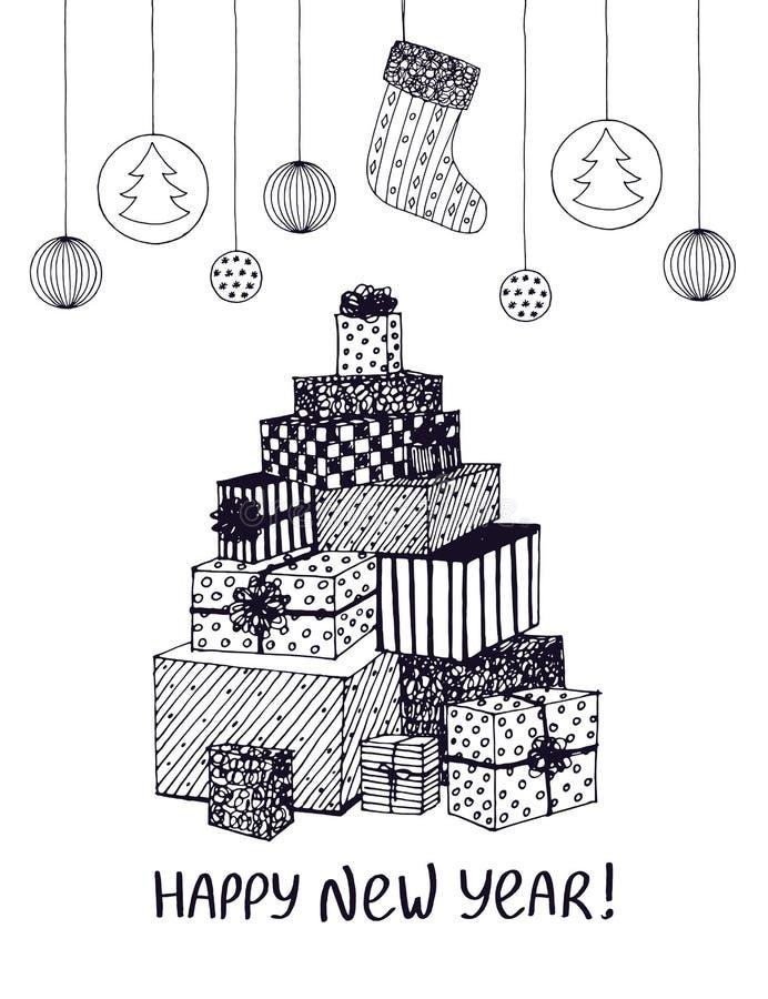 新年礼物和礼物黑白剪影在圣诞树形状  传染媒介手拉的乱画为假日 向量例证