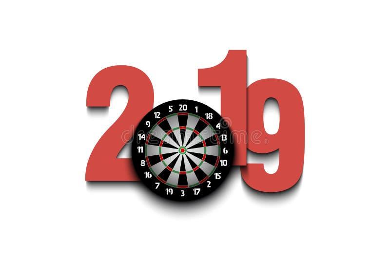 新年第2019年和掷镖的圆靶 库存例证