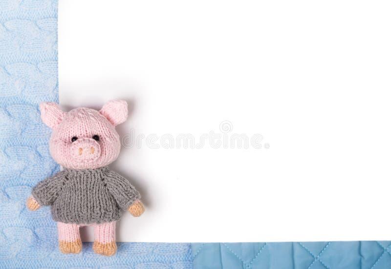 新年编织了在的玩具猪被编织被构造的和缝制的纺织品背景 平的位置,上面 库存照片