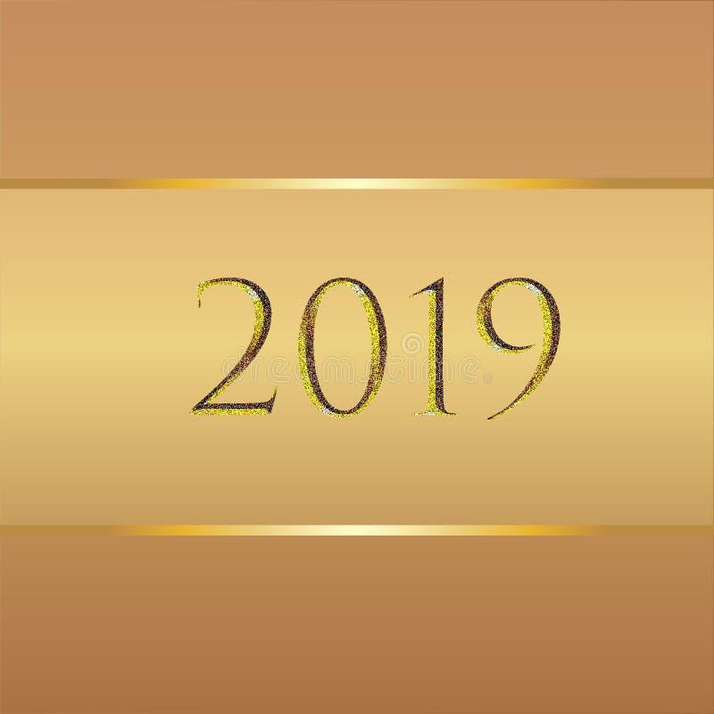 新年背景用棕色颜色和金元素和2019个数字不同的树荫  皇族释放例证