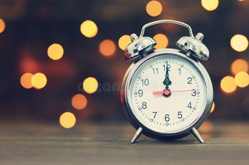 新年读秒 午夜时钟 库存照片