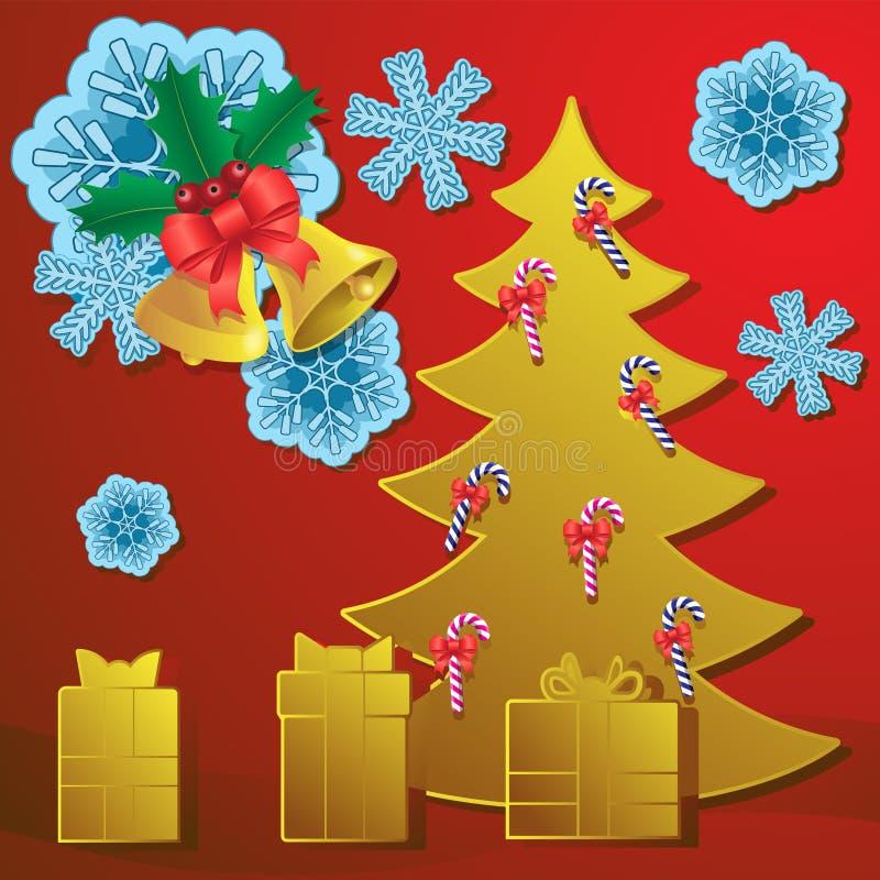 新年贺卡 红色背景中抽象的圣诞树糖果雪花钟礼物 矢量图像 向量例证