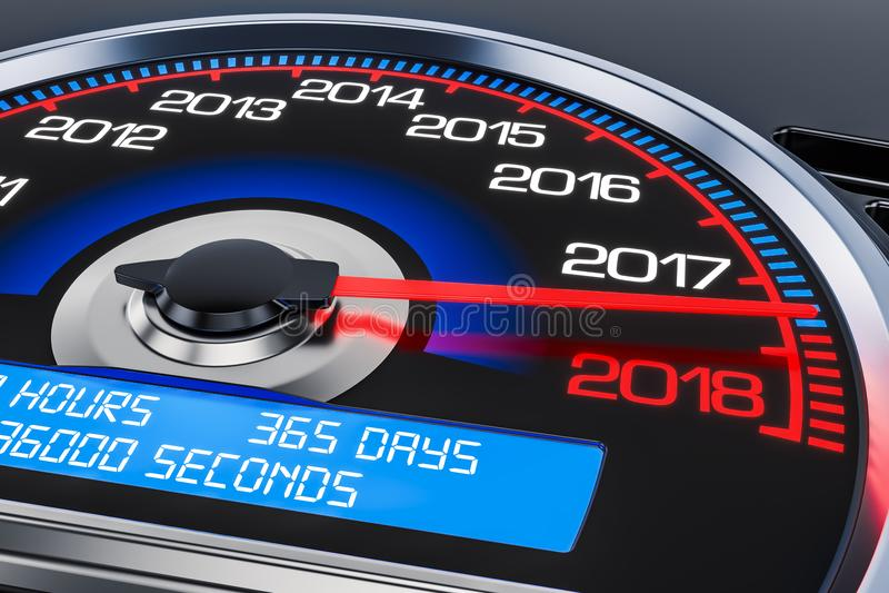 2018新年车速表概念, 3D 向量例证