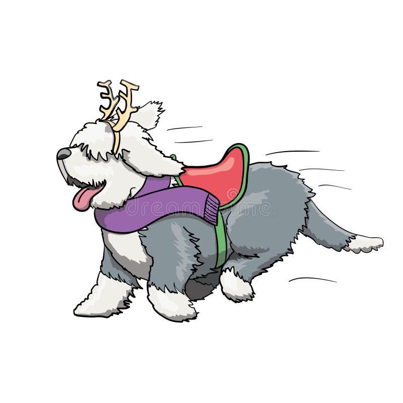 新年驯鹿毛茸的英国短尾的狗漫画人物赛跑 向量例证