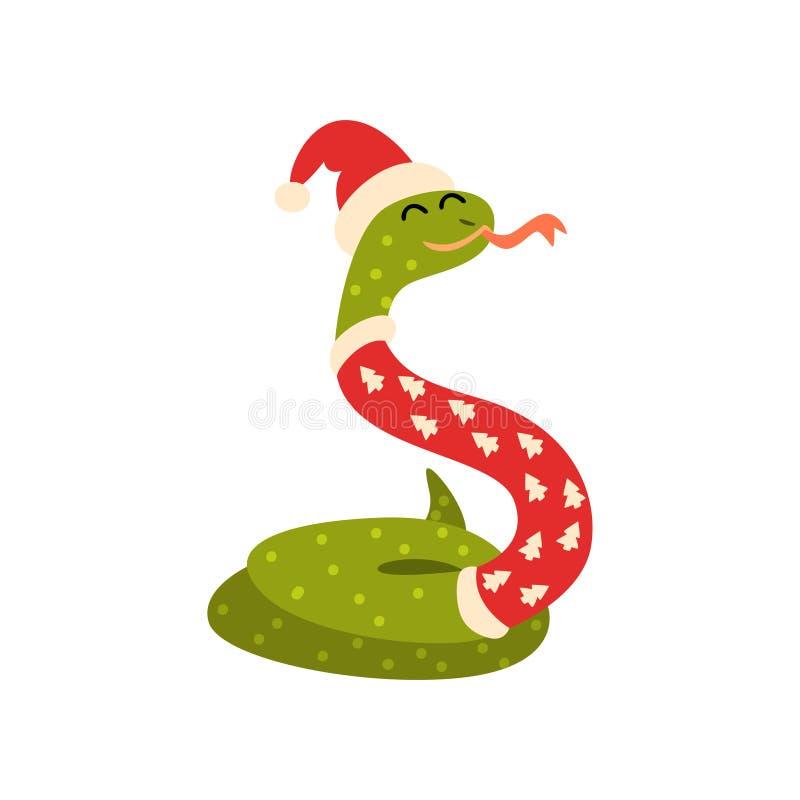新年,中国占星逗人喜爱的动物的蛇标志在圣诞老人项目服装传染媒介例证的在白色 皇族释放例证