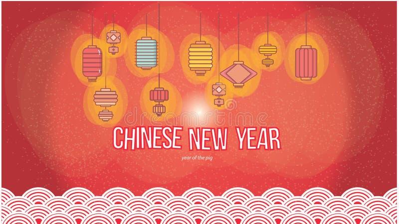 新年2019墙纸的中国灯笼集合在红色背景中 向量例证