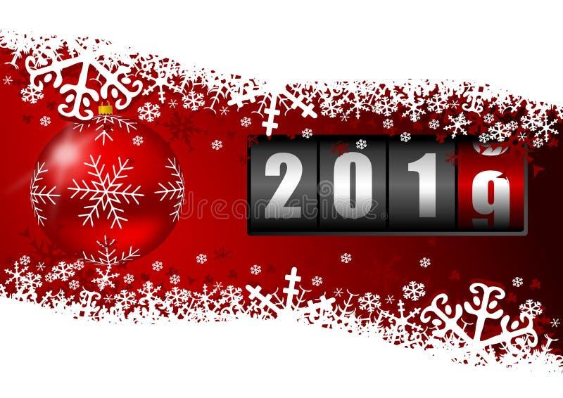 新年2019年与红色圣诞节球和雪花的贺卡 与空的拷贝空间的Xmas和冬天背景 库存例证