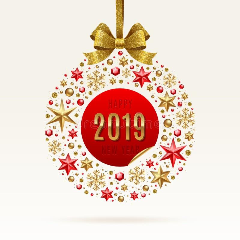 新年2019年例证 由星做的抽象假日中看不中用的物品,红宝石宝石金黄雪花、小珠和闪烁金子鞠躬 向量例证