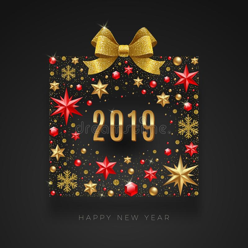 新年2019年例证 由星做的抽象礼物盒,红宝石宝石、金黄雪花、小珠和闪烁金子鞠躬r 库存例证