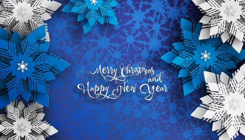 新年2019年和圣诞节设计 蓝色和白色圣诞节快乐纸裁减雪花 向量例证