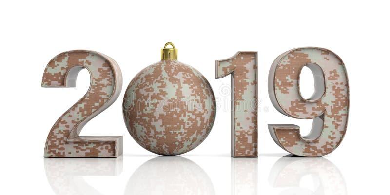 新年2019年和美国军队 在白色背景2019隔绝的军事样式 3d例证 向量例证