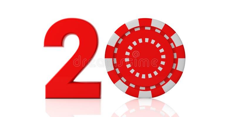 新年2020年和赌博娱乐场 红色20与在白色背景隔绝的纸牌筹码 库存例证