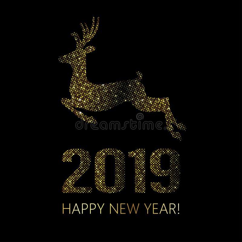 新年2019年圣诞节背景 金明亮的迪斯科小点 半 皇族释放例证