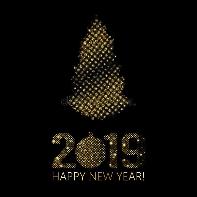 新年2019年圣诞节背景 金明亮的迪斯科小点 半 向量例证