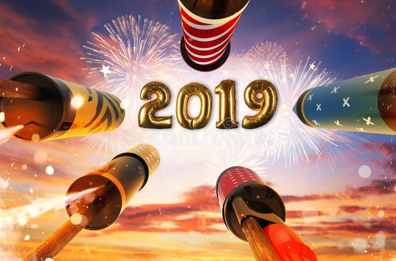 新年2019年庆祝概念 免版税库存照片
