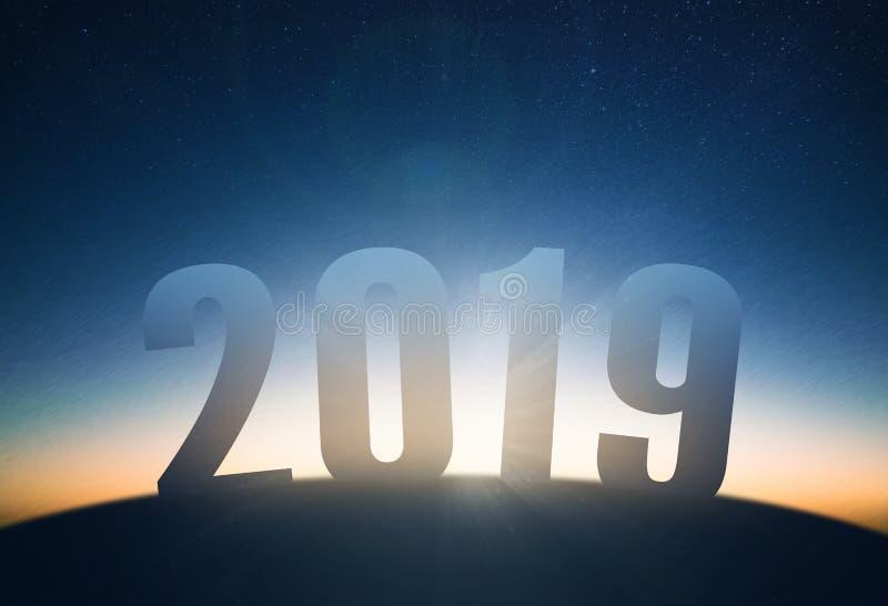 新年2019年概念 日出和星天空 库存图片