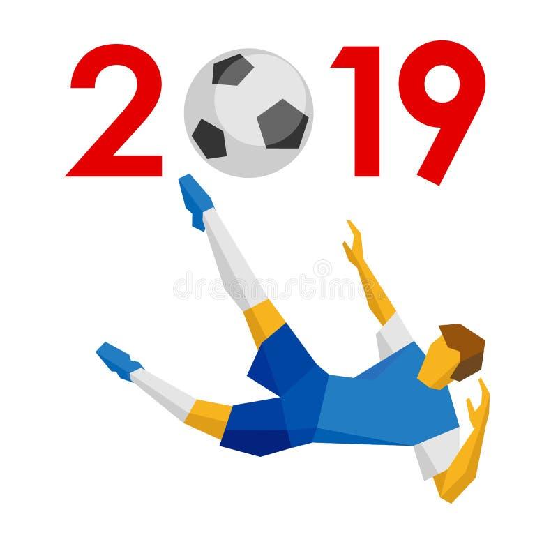 新年2019年概念-足球 向量例证