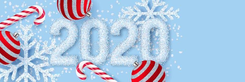 新年2020年海报,横幅 白雪数字的传染媒介3d现实例证,雪花,红色球,棍子糖果 皇族释放例证