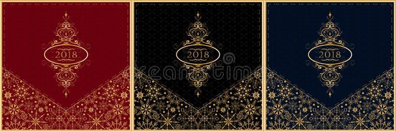 新年2018年贺卡集合 向量 皇族释放例证