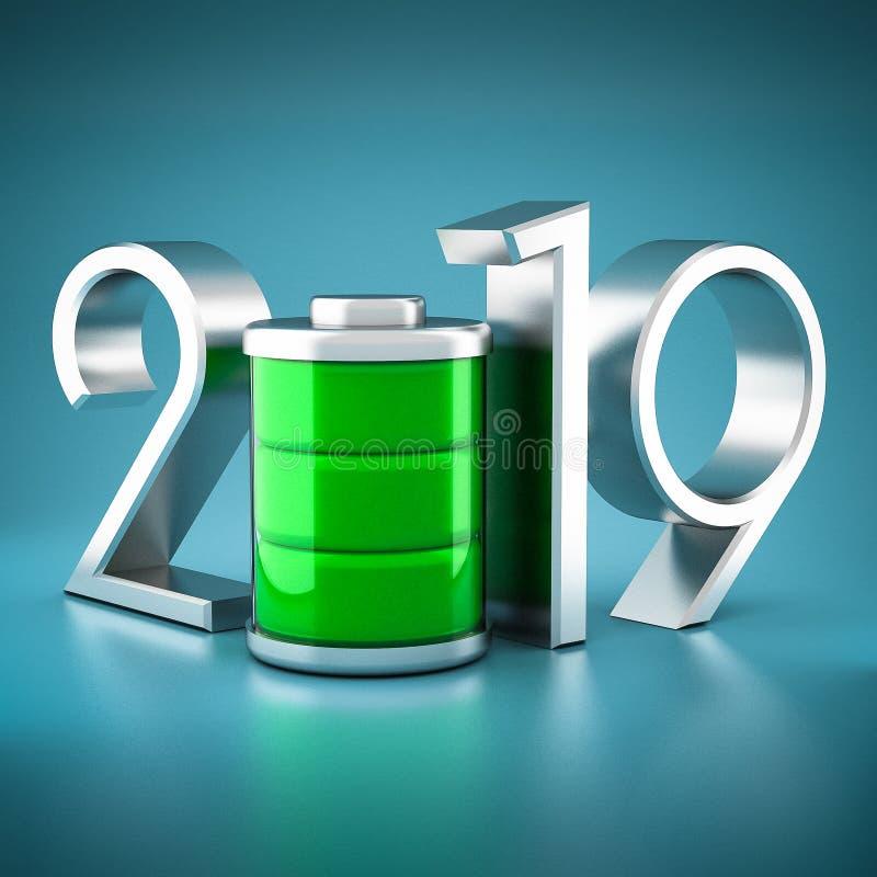 新年2019年 3d例证 免版税库存图片