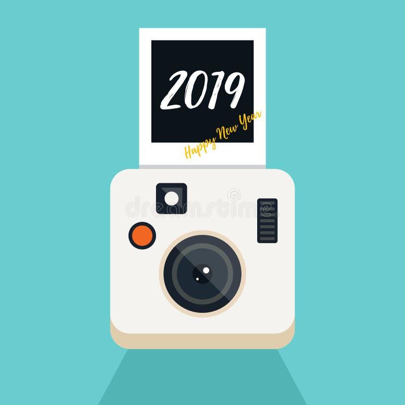 新年2019摘要背景装饰与葡萄酒照相机 皇族释放例证