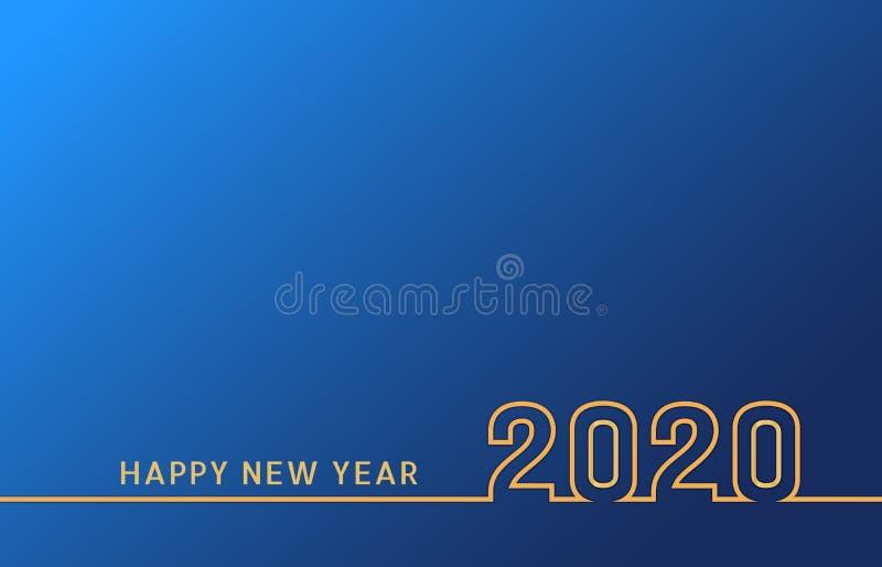 新年2020线与金黄数字的文本设计在蓝色背景 假日横幅、海报、飞行物、贺卡或者邀请 向量例证