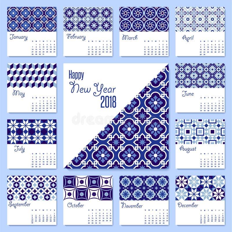 新年2018蓝色锦砖日历模板 库存例证