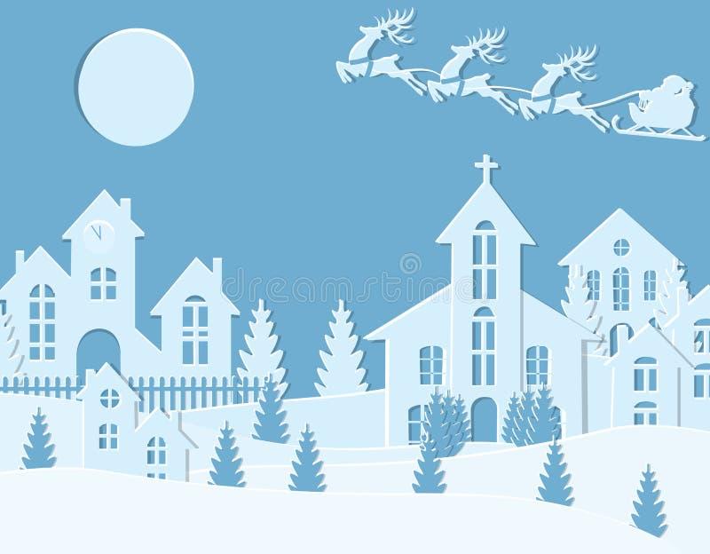 新年` s圣诞节 圣诞老人和鹿的图象 冬天城市在新年 雪,月亮,树,房子,教会 向量例证