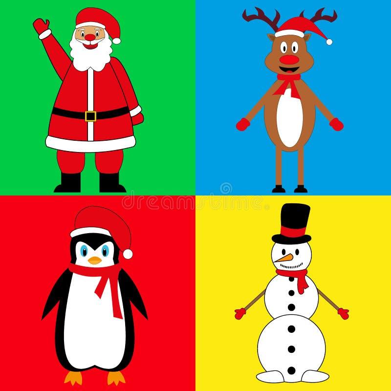 新年` s字符,圣诞老人鹿雪人和企鹅 皇族释放例证