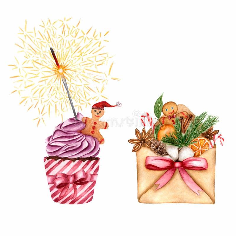 新年` s集合 与礼物和杯形蛋糕的信封与姜饼人和孟加拉火在杯形蛋糕与紫罗兰色奶油 皇族释放例证