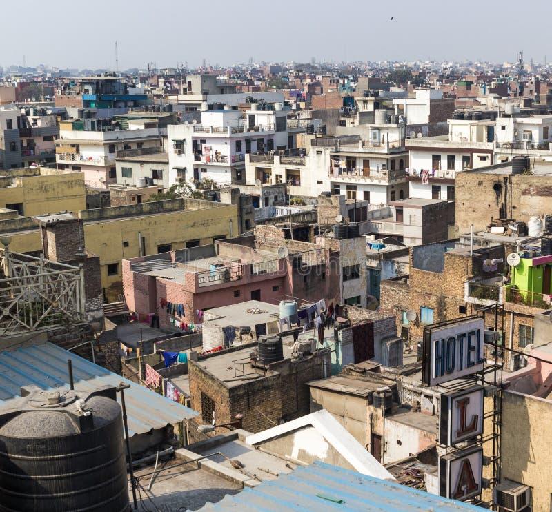 新德里市屋顶视图 库存图片