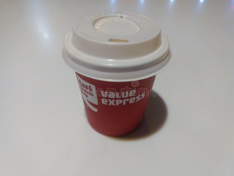 新德里,印度- 2019年3月25日:咖啡馆咖啡天咖啡有白色背景 库存图片