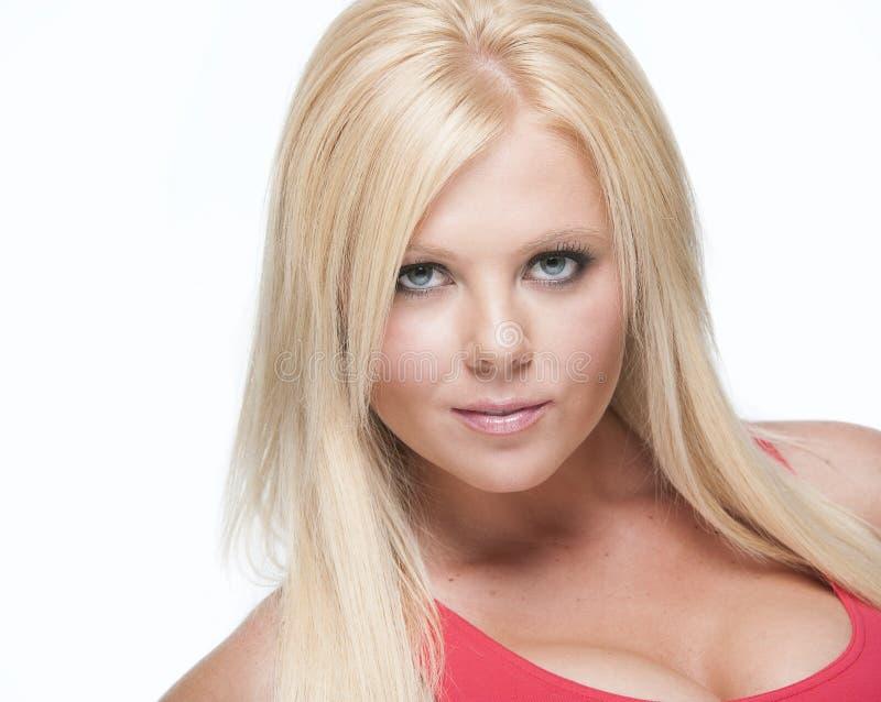 新性感的白肤金发的女孩Headshot白色返回的 免版税库存图片