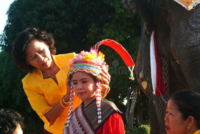 新手礼服Si Satchanalai大象后面整理的Proce 免版税库存照片