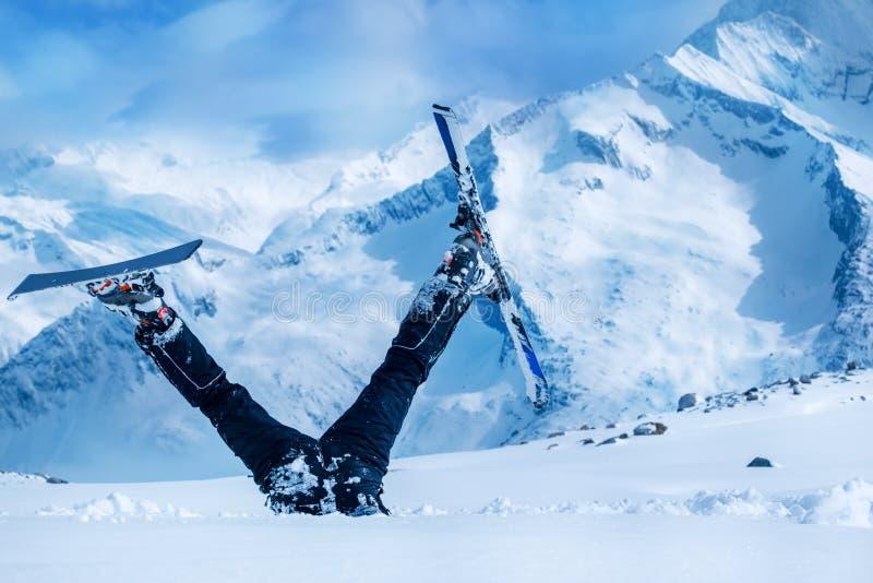 新手滑雪者 库存图片
