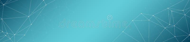 新技术布局概念、数字变革向量图形小点和线连接横幅背景 库存例证