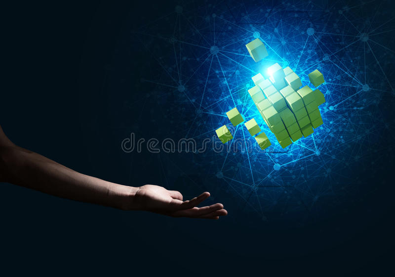 新技术想法和综合化由立方体形象提出了 免版税库存图片