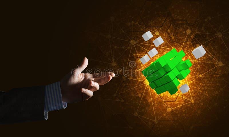 新技术想法和综合化由立方体形象提出了 库存图片