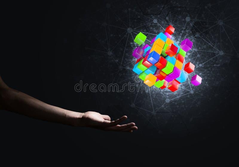 新技术想法和综合化由立方体形象提出了 图库摄影
