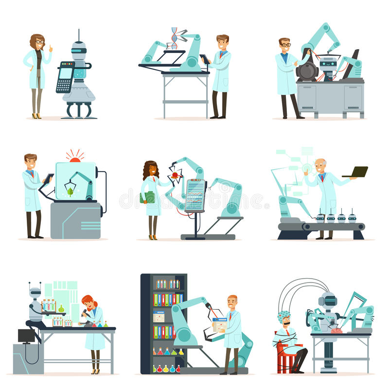 新技术,人工智能集合,工作在有机器人机器传染媒介的实验室的科学家 向量例证
