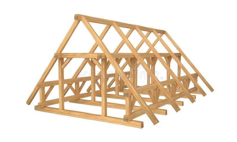 新新的木屋顶建筑 背景查出的白色 皇族释放例证