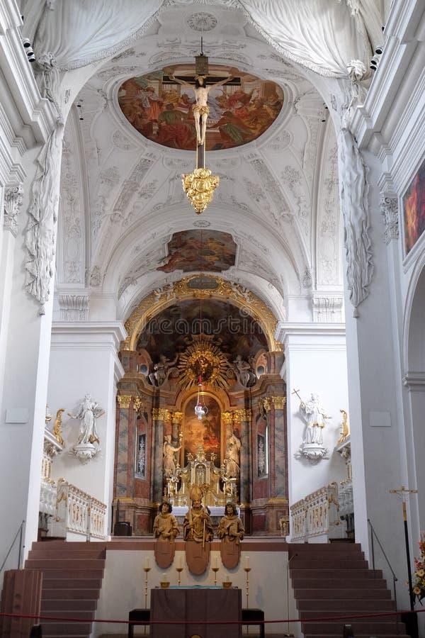 新明斯特牧师会主持的教堂在维尔茨堡,德国 库存图片