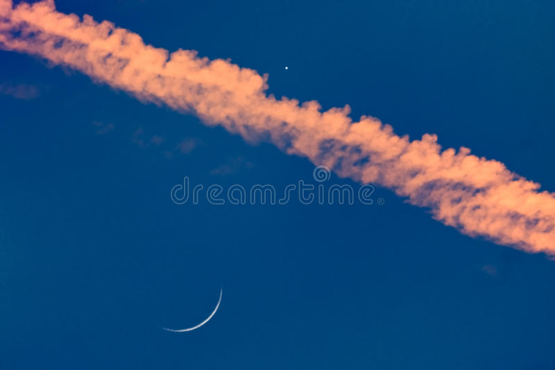 新月形月亮变薄金星 库存照片
