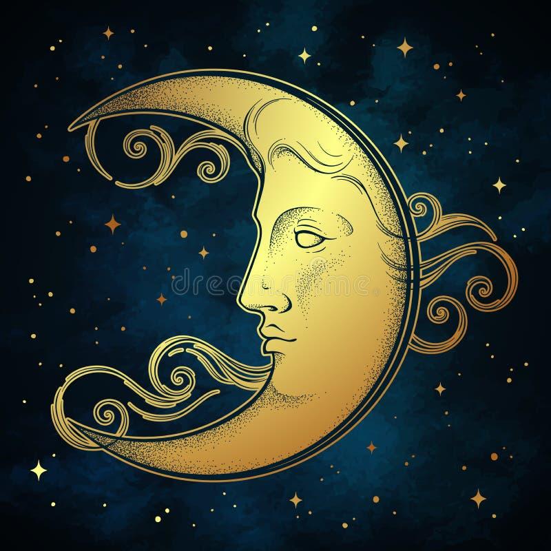 新月形月亮和星在古色古香的样式手拉的线艺术和dotwork Boho别致的纹身花刺、海报、法坛面纱、挂毯或者织品 皇族释放例证