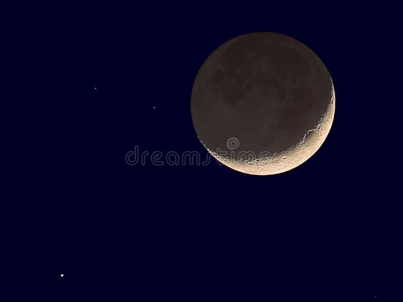 新月形月亮金星 库存照片