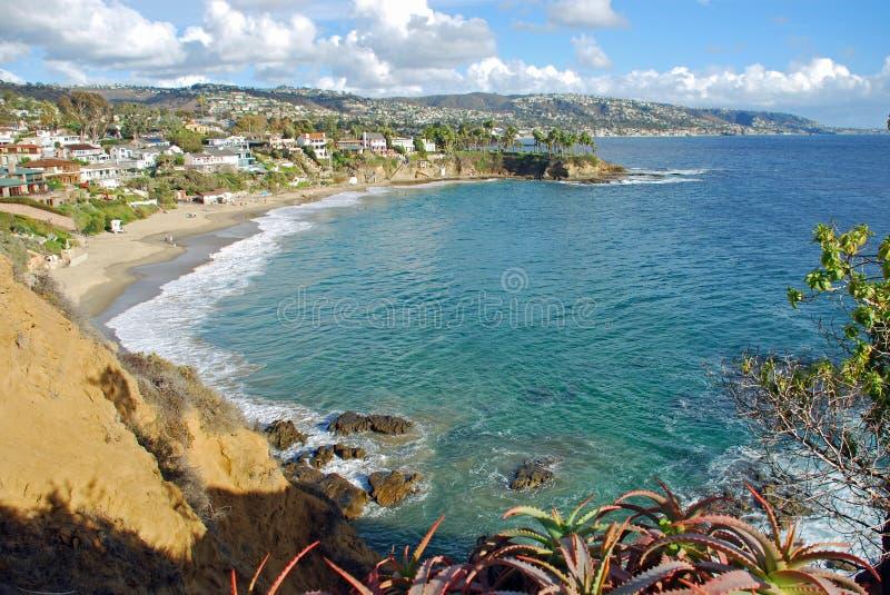 新月形海湾,北部拉古纳海滩,加利福尼亚 免版税库存照片